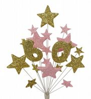 Number age 60th birthday cake topper decoration in gold and pale pink - free postage